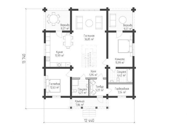 Дом из бруса-290