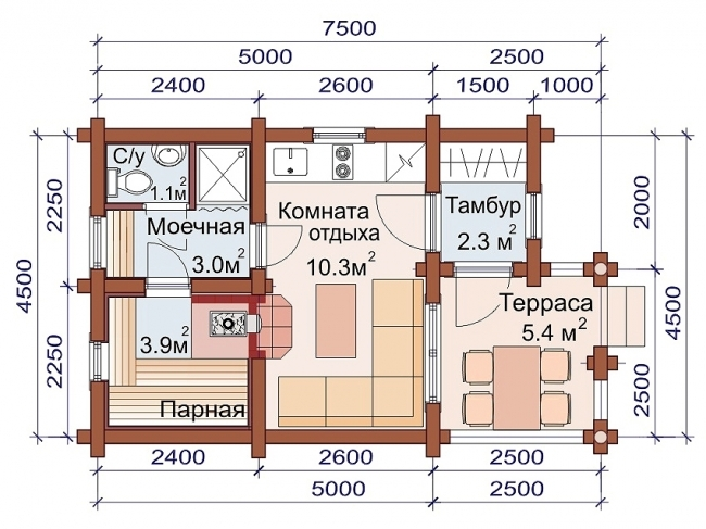 Сруб бани-61